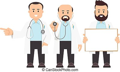 Doctors, scientists. Vector illustration of a people in a...