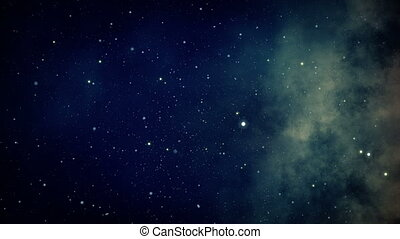 Slow Motion Serene Deep Space Galaxy and Stars Background...