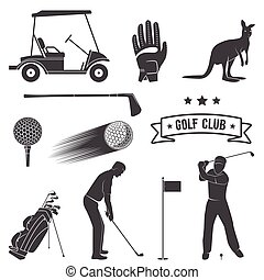 Set of vintage golf elements and equipment. Vector...