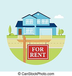 Vector flat icon suburban american house. - House for rent....