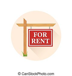 For rent Icon on the white background. For web and mobile,...