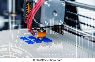 Electronic three dimensional plastic printer during work ,...
