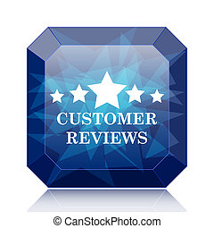 Customer reviews icon, blue website button on white...