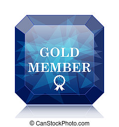 Gold member icon, blue website button on white background.