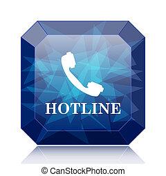 Hotline icon, blue website button on white background.