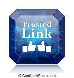 Trusted link icon, blue website button on white background.