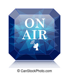 On air icon, blue website button on white background.