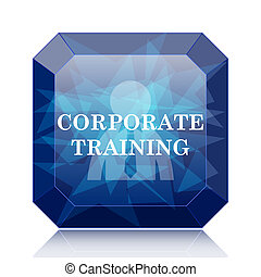 Corporate training icon, blue website button on white...