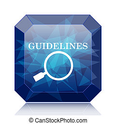 Guidelines icon, blue website button on white background.