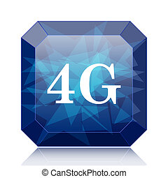 4G icon, blue website button on white background.