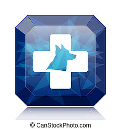 Veterinary icon, blue website button on white background.