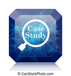 Case study icon, blue website button on white background.
