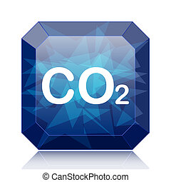 CO2 icon, blue website button on white background.