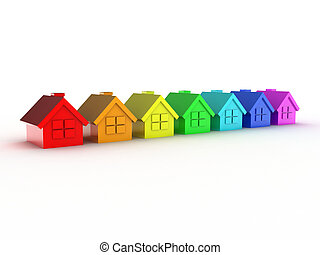 House - Illustration of some houses in colour rainbows