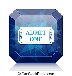 Admin one ticket icon, blue website button on white...