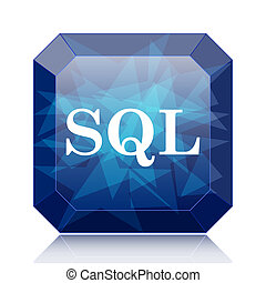 SQL icon, blue website button on white background.