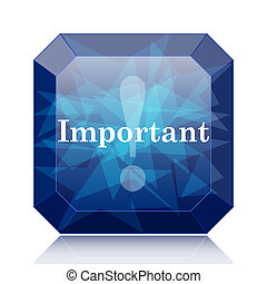 Important icon, blue website button on white background.
