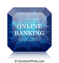 Online banking icon, blue website button on white...