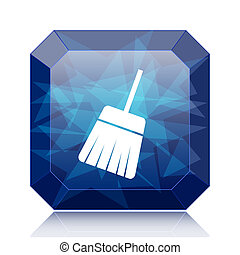 Sweep icon, blue website button on white background.