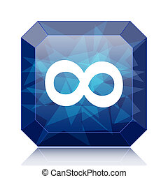 Infinity sign icon, blue website button on white background.