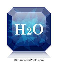 H2O icon, blue website button on white background.
