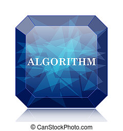 Algorithm icon, blue website button on white background.