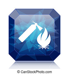 Fire icon, blue website button on white background.