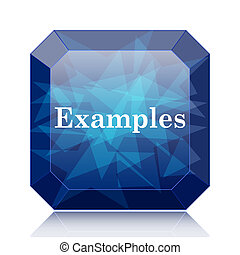 Examples icon, blue website button on white background.