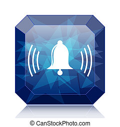 Bell icon, blue website button on white background.