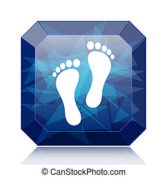 Foot print icon, blue website button on white background.