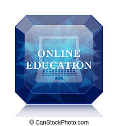Online education icon, blue website button on white...