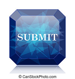 Submit icon, blue website button on white background.