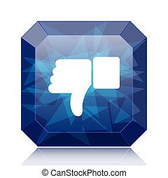 Thumb down icon, blue website button on white background.