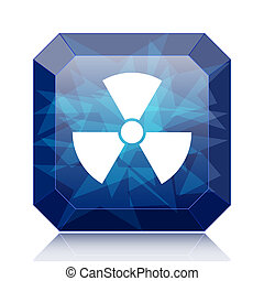 Radiation icon, blue website button on white background.