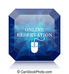 Online reservation icon, blue website button on white...