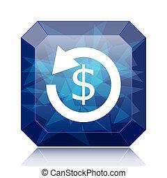 Refund icon. - Refund icon, blue website button on white...