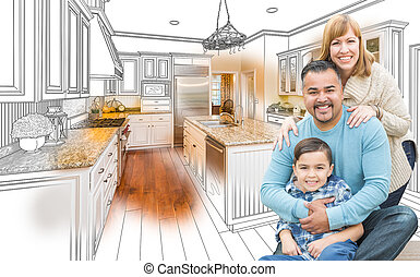 Young Mixed Race Family Over Kitchen Drawing with Photo Combination