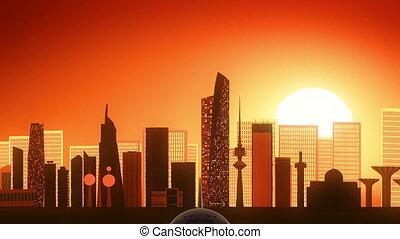 Airplane Take Off Skyline Kuwait Golden Background