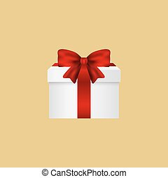 Gift in a box with  red bow