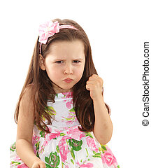 Naughty little girl over the white background