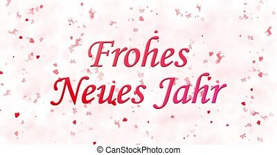 "Happy New Year text in German ""Frohes neues Jahr"" formed from dust and turns to dust horizontally on white animated background"