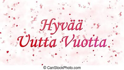"Happy New Year text in Finnish ""Hyvaa uutta vuotta"" formed..."