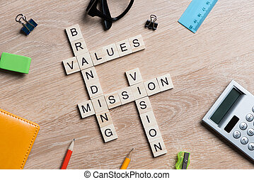 Conceptual business keywords on table with elements of game...