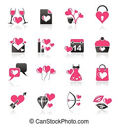 Love and Valentine Holidays icons - vector icon set