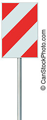 Obstacle detour barrier road sign on pole post, red, white...