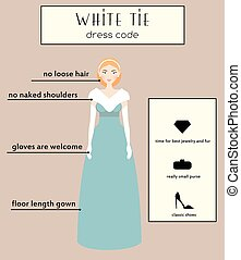 Woman dress code infographic. White tie. Female in evening long gown dress