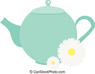 Teapot with chamomile flowers, herbals. Blue Tea kettle...