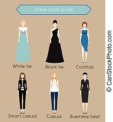 Woman dress code infographic. From white tie to business casual. Females in different types of dress and clothes
