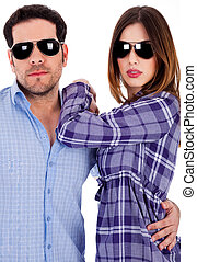 stylish young couple in action