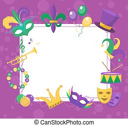 Mardi Gras frame template with space for text. Carnival...